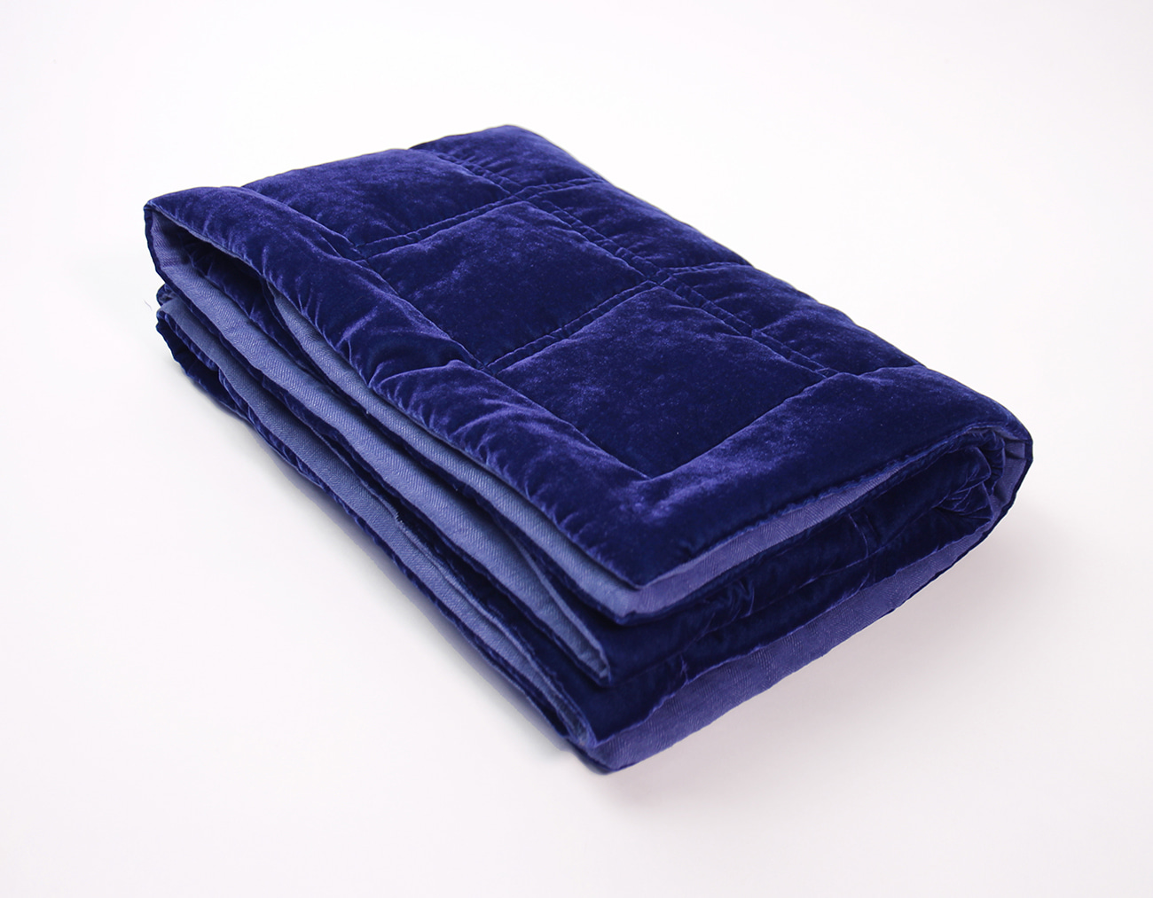 VELVET QUILT BED RUNNER - DEEP BLUE