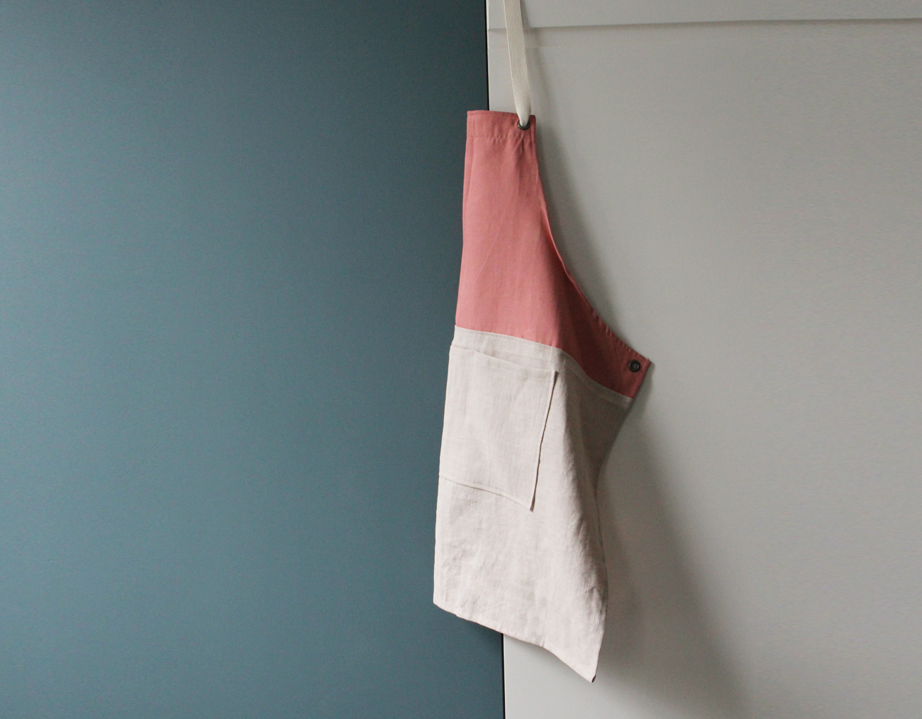 COLOR BLOCK APRON_Pink/Light beige