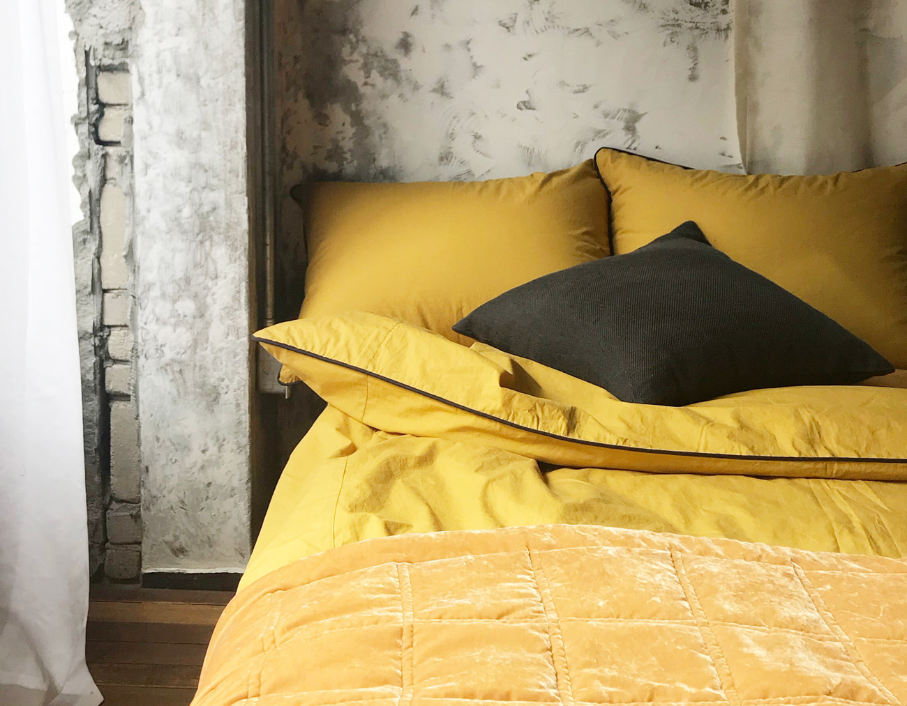 WASHING COTTON DUVET COVER - MUSTARD/GRAY