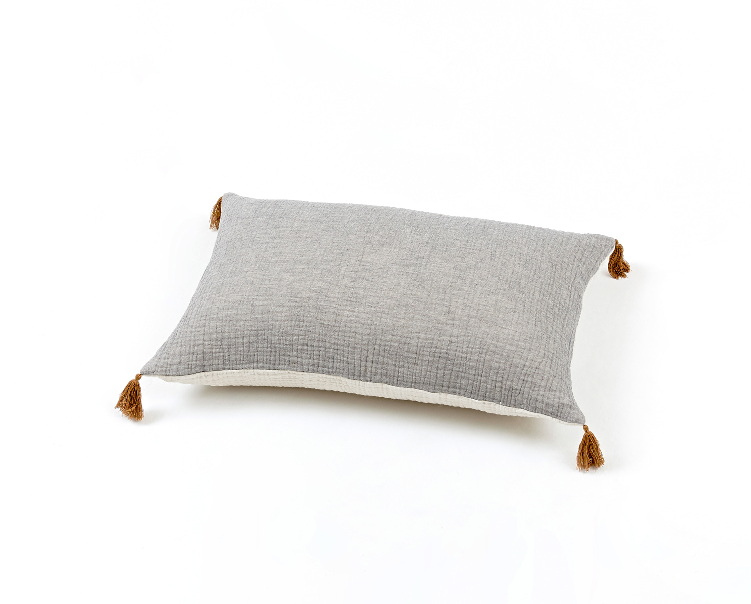 BICOLOR GAUZE CUSHION GRAY / IVORY