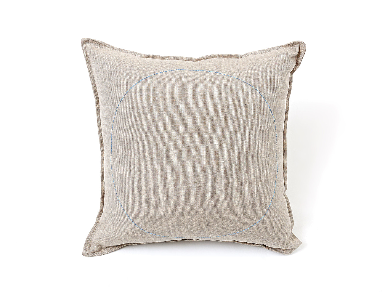 LINEN STITCH CUSHION_LIGHT BLUE CRICLE