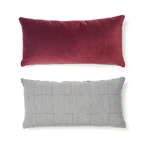 VELVET STITCH CUSHION_MARSALA
