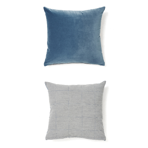 VELVET STITCH CUSHION_GRAYISH BLUE
