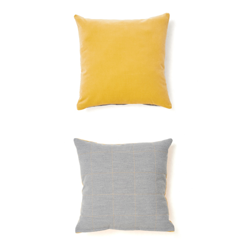 VELVET STITCH CUSHION_YELLOW