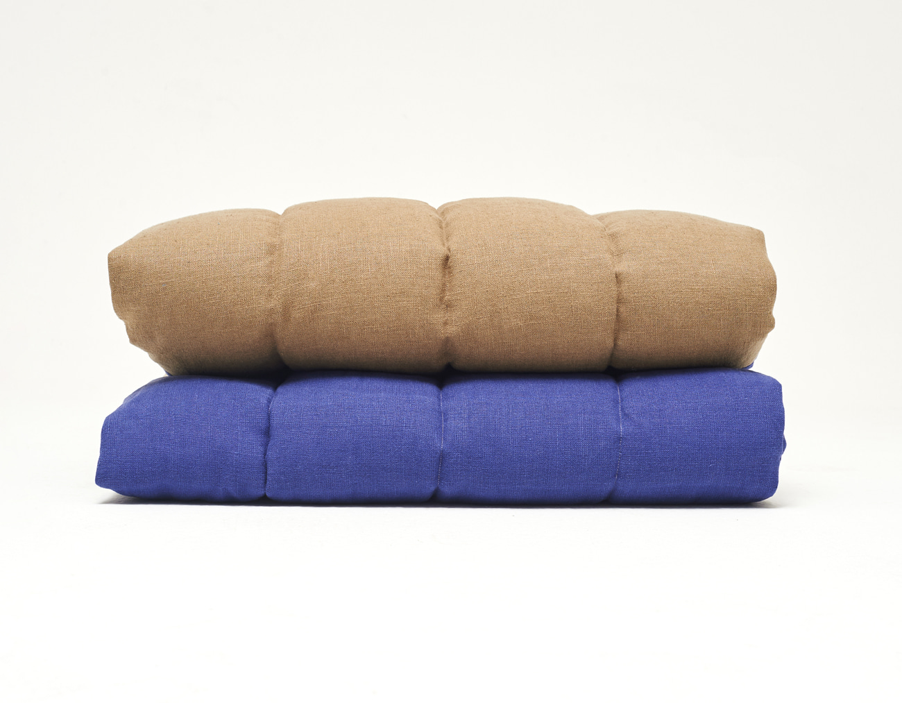 LINEN STRIPE BLANKET_BLUE/NATURAL