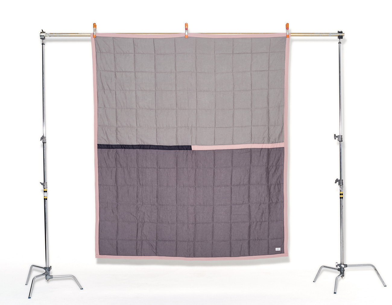 COLOR BLOCK BLANKET_PINK/GRAY