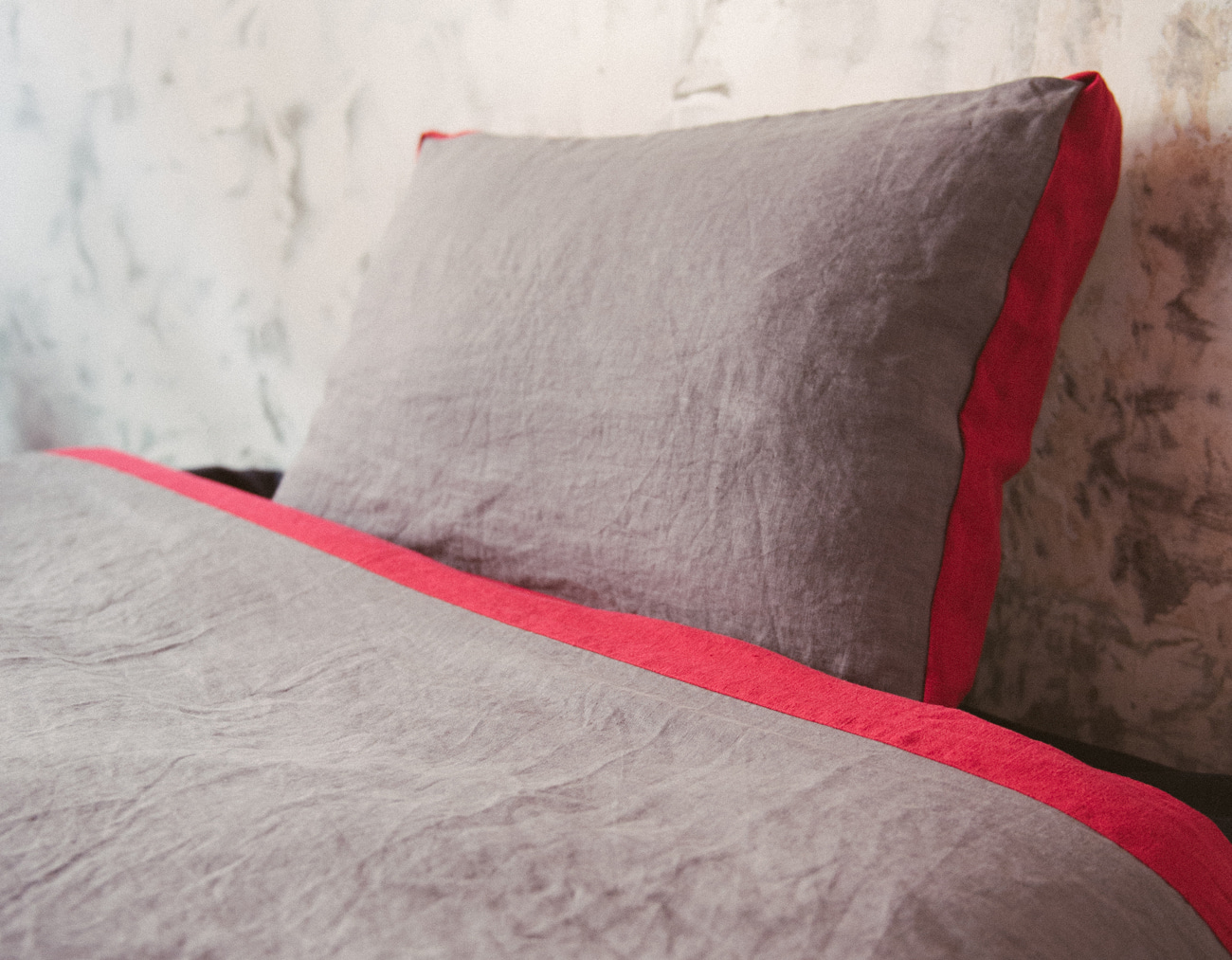 NEW LINEN DUVET COVER SET_GRAY/RED