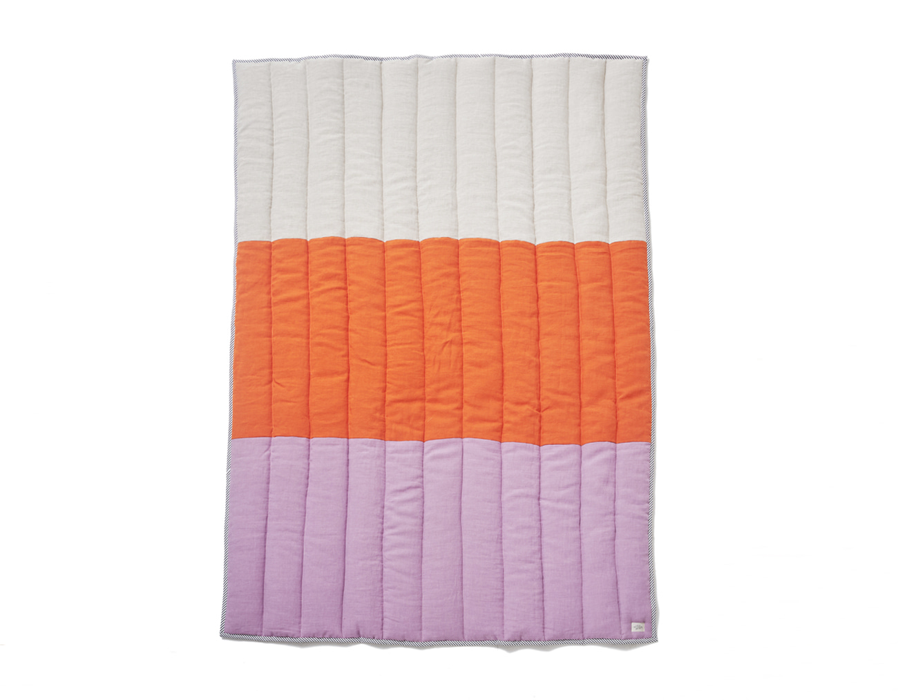 LINEN STRIPE BLANKET-ORANGE/LAVENDER