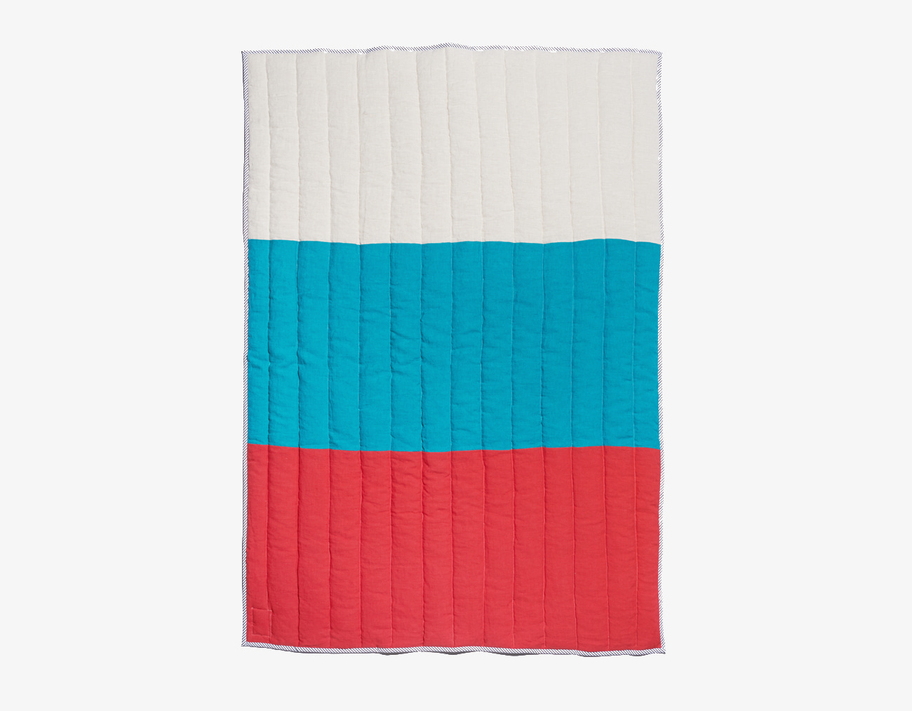 LINEN STRIPE BLANKET-RED/BLUE