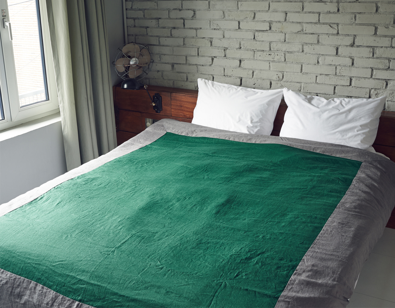LINEN DUVET COVER QUEEN SET_GREEN/GRAY