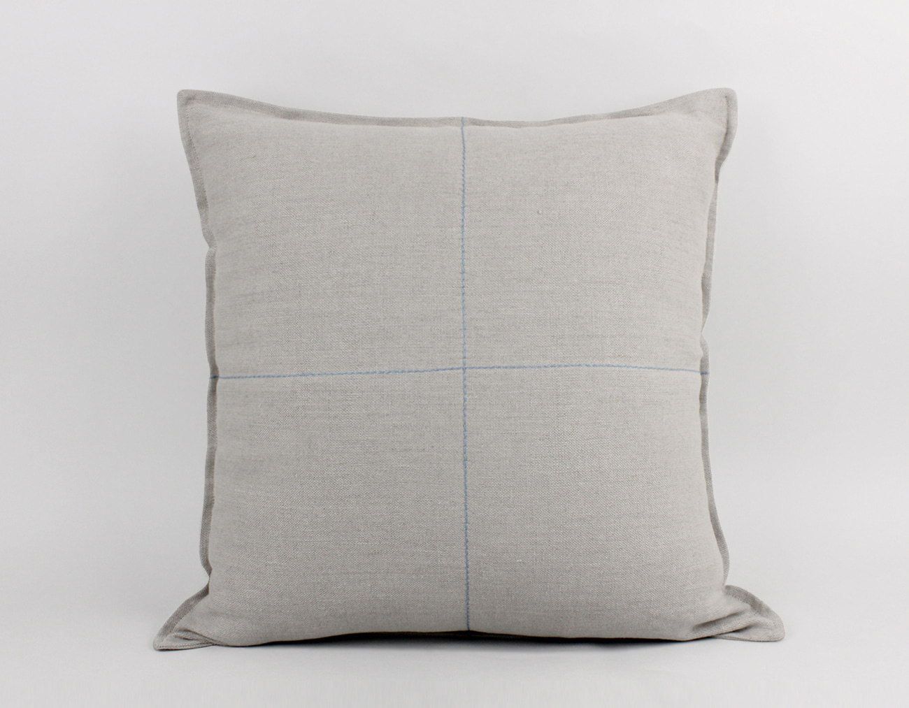 LINEN STITCH CUSHION_LIGHT BLUE CROSS