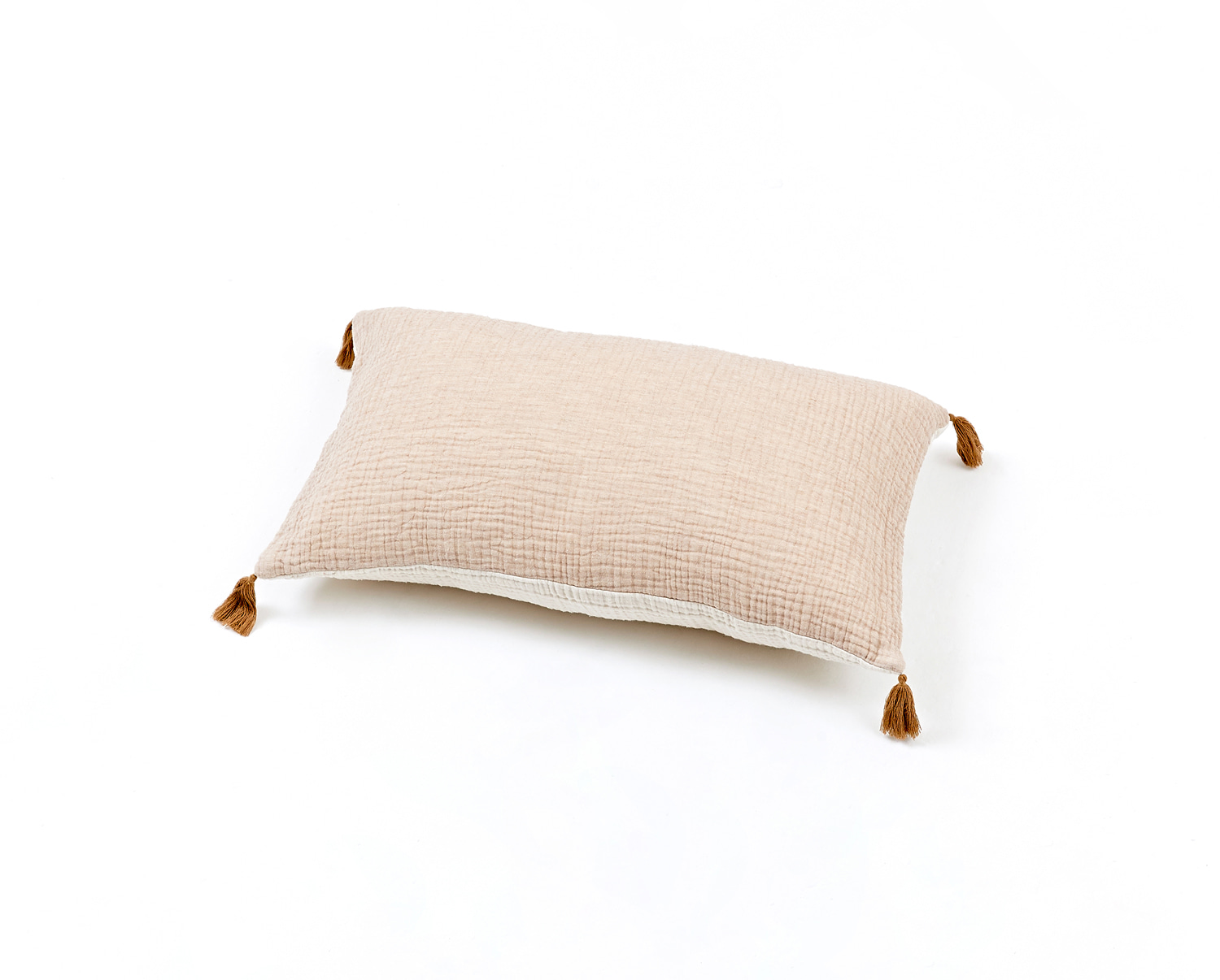 BICOLOR GAUZE CUSHION -BEIGE / IVORY