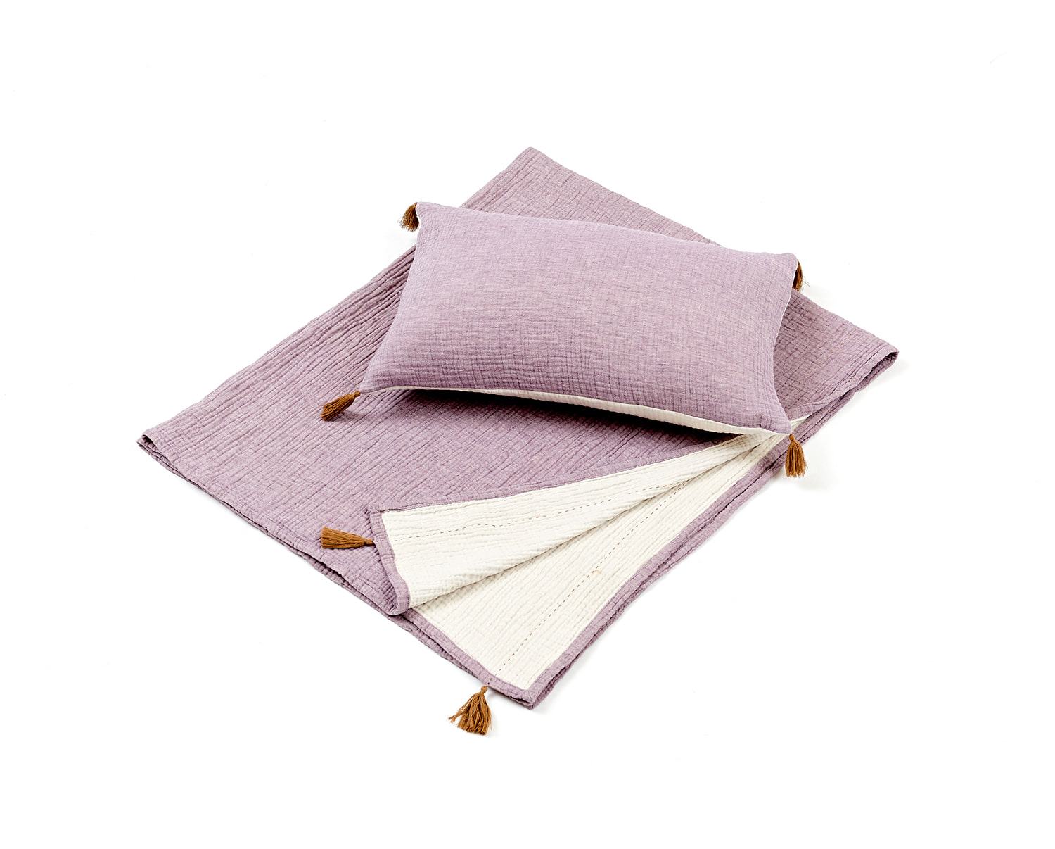 BICOLOR GAUZE BLANKET - PURPLE / IVORY