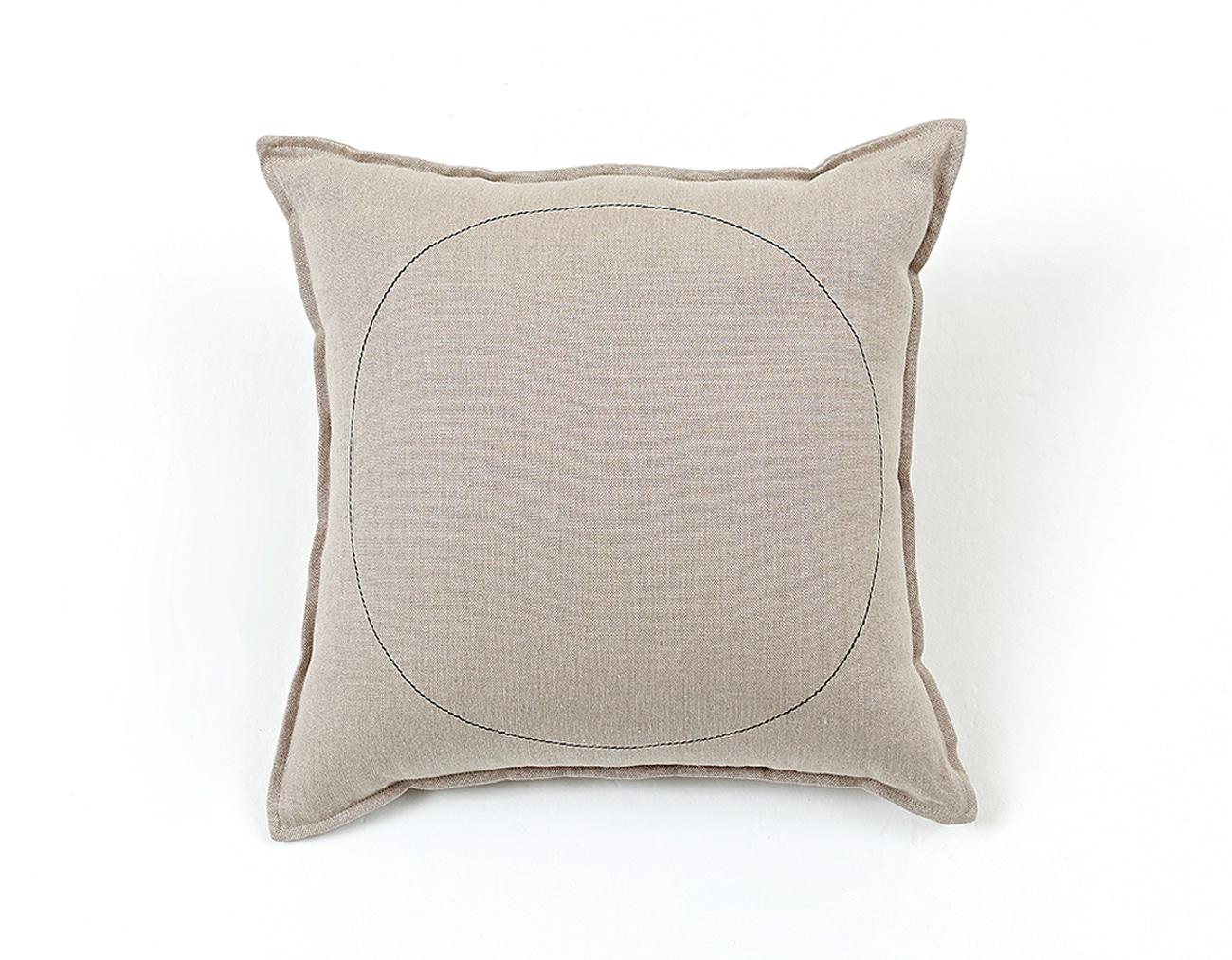 LINEN STITCH CUSHION_BLACK CIRCLE