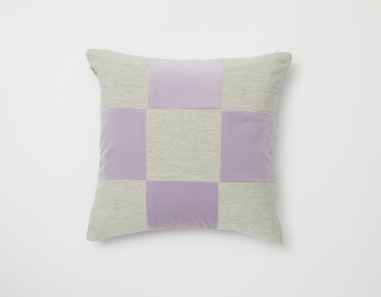 VELVET CHECKERED CUSHION_4545LAVENDER